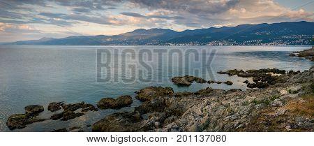 A view from Rijeka towards Opatija Croatia