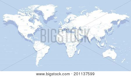 vector high detailed world map with country names