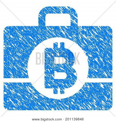 Grunge Bitcoin Accounting Case icon with grunge design and scratched texture. Unclean vector blue pictogram for rubber seal stamp imitations and watermarks.
