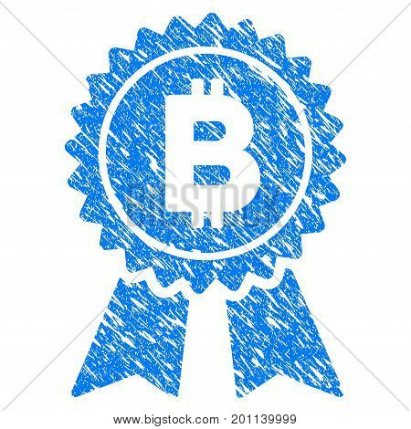 Grunge Bitcoin Award Seal icon with grunge design and scratched texture. Unclean vector blue pictogram for rubber seal stamp imitations and watermarks.