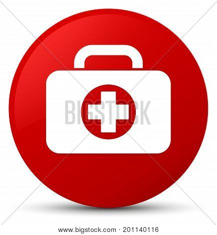 First Aid Kit Bag Icon Red Round Button