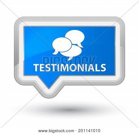Testimonials (comments Icon) Prime Cyan Blue Banner Button