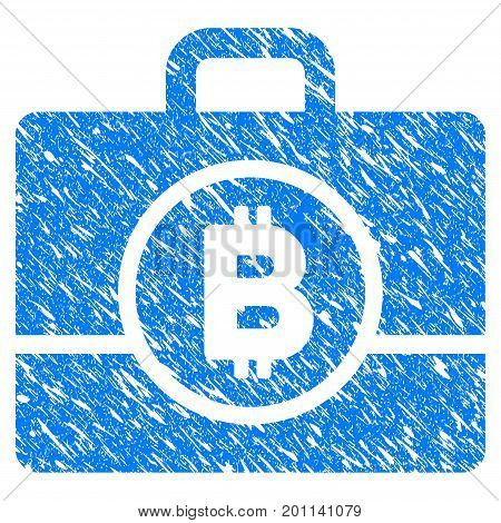Grunge Bitcoin Case icon with grunge design and dust texture. Unclean vector blue pictogram for rubber seal stamp imitations and watermarks.