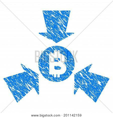 Grunge Bitcoin Collect Arrows icon with grunge design and scratched texture. Unclean vector blue pictogram for rubber seal stamp imitations and watermarks.