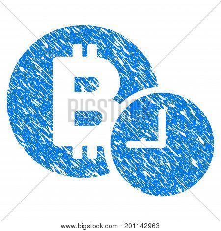 Grunge Bitcoin Credit Time icon with grunge design and scratched texture. Unclean vector blue pictogram for rubber seal stamp imitations and watermarks. Draft emblem symbol.