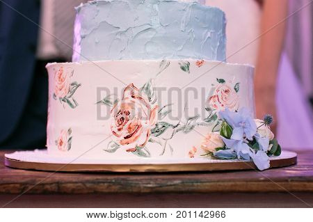 present, decoration, wedding concept. masterpiece of cooking, white and blue engagement cake, made in form of topper and painted with help of food coloring