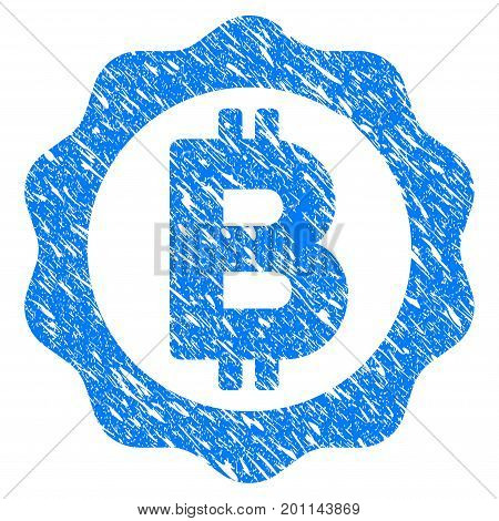 Grunge Bitcoin Medal Seal icon with grunge design and dirty texture. Unclean vector blue pictogram for rubber seal stamp imitations and watermarks. Draft emblem symbol.