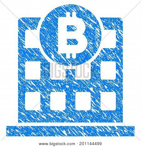 Grunge Bitcoin Office Building icon with grunge design and scratched texture. Unclean vector blue pictogram for rubber seal stamp imitations and watermarks. Draft sticker symbol.