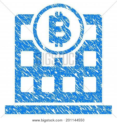 Grunge Bitcoin Office icon with grunge design and dirty texture. Unclean vector blue pictogram for rubber seal stamp imitations and watermarks. Draft sticker symbol.