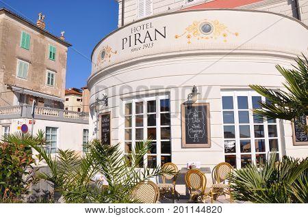 Piran Slovenia - July 22 2017: Hotel Piran Istria Slovenia
