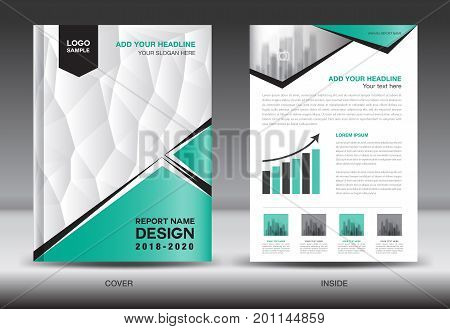 Annual report brochure flyer template Green cover design business advertisement magazine ads catalog book infographics element vector layout in A4 size