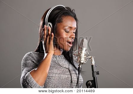 Making Music Beautiful Black Woman Singing In Mic