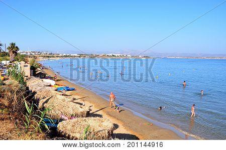 Golden beach Paros island Greece - July 11 2017: Golden beach view on Paros island