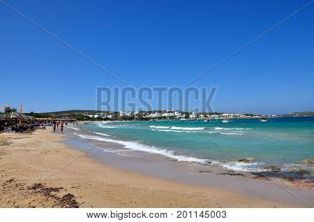 Santa Maria beach Paros - July 11 2017: Sandy beach Santa Maria in sunny day Paros island Greece