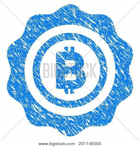Grunge Bitcoin Seal Stamp icon with grunge design and scratched texture. Unclean vector blue pictogram for rubber seal stamp imitations and watermarks. Draft sticker symbol.