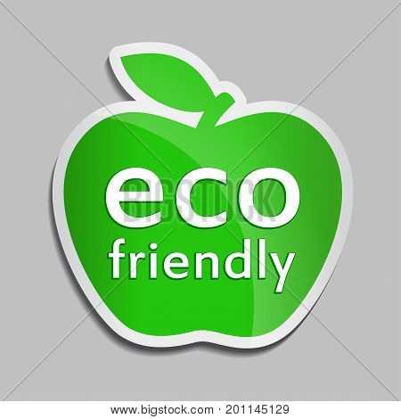 Eco friendly logo in green apple. Vector Bio icon for packaging design, web-design, advertising booklets, eco logo creation, natural product design. Organic natural cosmetic and food label.
