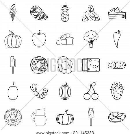 Feed icons set. Outline set of 25 feed vector icons for web isolated on white background