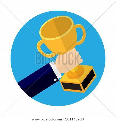 Businessmen holding winner's cup Winner trophy cup Flat graphic design. For business concept-Vector Illustration.