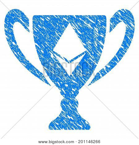 Grunge Ethereum Award Cup icon with grunge design and dirty texture. Unclean vector blue pictogram for rubber seal stamp imitations and watermarks. Draft sign symbol.