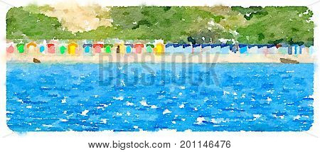 Panoramic digital watercolor painting of colorful beach huts on a sunny day with sea in front and trees behind. With space for text.