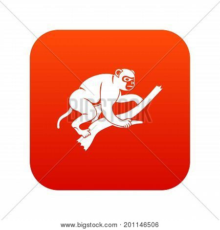 Monkey is climbing up on a tree icon digital red for any design isolated on white vector illustration