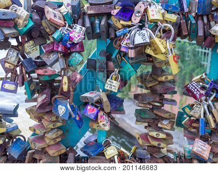 WROCLAW POLAND - AUGUST 15 2017: Love Locks Which Lovers Leave To Cherish Their Feelings At Tumski Bridge
