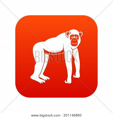 Chimpanzee icon digital red for any design isolated on white vector illustration