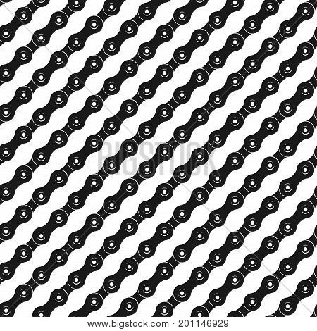 Seamless pattern with bicycle chain in diagonal direction, vector illustration