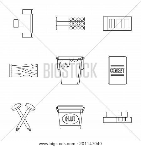House construction icon set. Outline set of 9 house construction vector icons for web isolated on white background