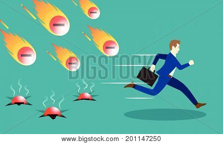 A Businessman Is Running Hurriedly From Falling Meteors/Comets Of Negativity With Fire. Three Of Them Already Hit The Ground With Smoke. It Means Trying To Avoid Negative Attitudes From The Others