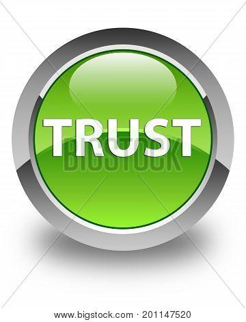Trust Glossy Green Round Button