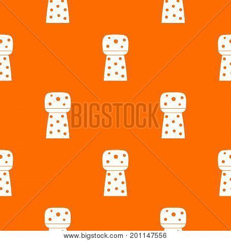 Wooden cork pattern repeat seamless in orange color for any design. Vector geometric illustration