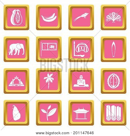 Sri Lanka travel icons set in pink color isolated vector illustration for web and any design