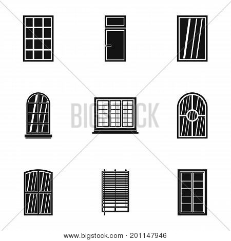 House window icon set. Simple set of 9 house window vector icons for web isolated on white background