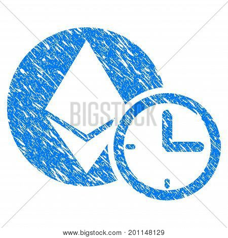 Grunge Ethereum Credit Time icon with grunge design and dirty texture. Unclean vector blue pictogram for rubber seal stamp imitations and watermarks. Draft sign symbol.