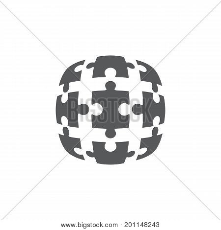 Jigsaw puzzle in the form of a circle. Vector illustration.