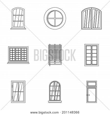 House window icon set. Outline set of 9 house window vector icons for web isolated on white background