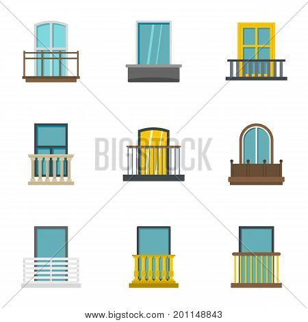 Exterior balcony icon set. Flat set of 9 exterior balcony vector icons for web isolated on white background