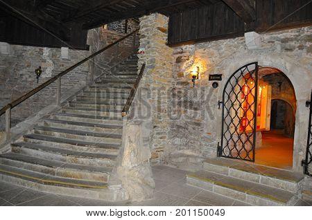 Lockenhaus Austria - September 12 2016: Interior of Burg Lockenhaus castle