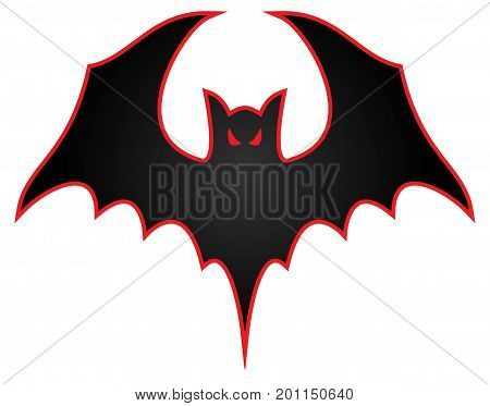 Bat logo with wings spread and aggressive eyes with red trim