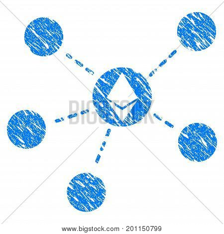 Grunge Ethereum Network icon with grunge design and dirty texture. Unclean vector blue pictogram for rubber seal stamp imitations and watermarks. Draft sign symbol.