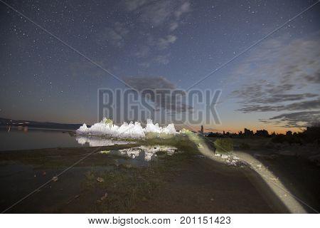 Light Painted Tufas At Mono Lake