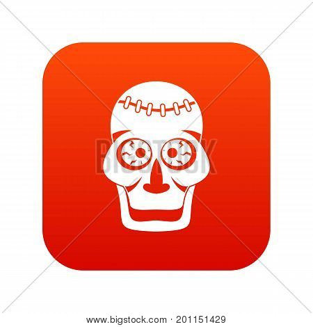 Skull icon digital red for any design isolated on white vector illustration