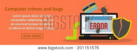 Computer crimes and bugs banner horizontal concept. Flat illustration of computer crimes and bugs banner horizontal vector concept for web