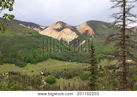 Red mountains in Pagosa Springs in Colorado