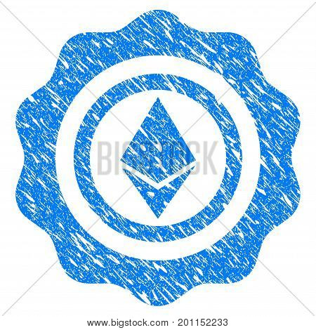 Grunge Ethereum Seal icon with grunge design and dust texture. Unclean vector blue pictogram for rubber seal stamp imitations and watermarks. Draft sticker symbol.