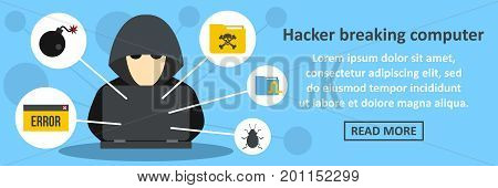 Hacker breaking computer banner horizontal concept. Flat illustration of hacker breaking computer banner horizontal vector concept for web