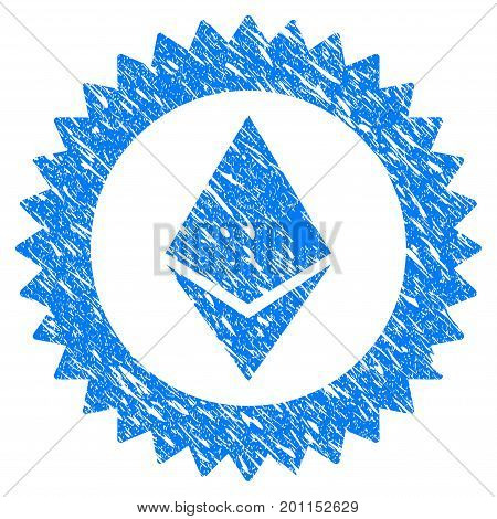 Grunge Ethereum Stamp Seal icon with grunge design and scratched texture. Unclean vector blue pictogram for rubber seal stamp imitations and watermarks. Draft emblem symbol.