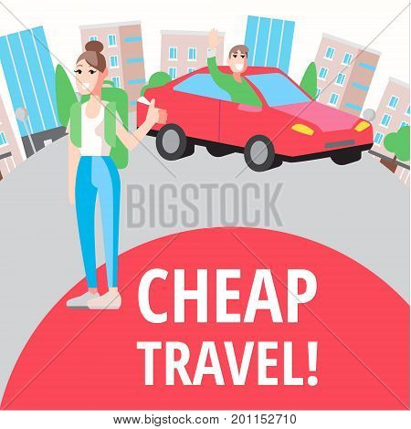 Vector design concept with flat illustrations about cheap travel. Hostel, hitch-hiking and tourist stuff
