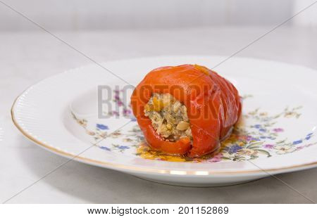 braised stuffed meat delicious stuffed pepper on a plate dish